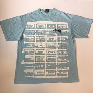 Vintage Stussy Cassette Graphic Logo T Shirt
